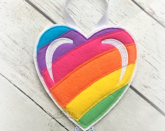 Rainbow Heart Hair Bow Holder Heart Holder for Hair Clips/ Pins OR Headbands