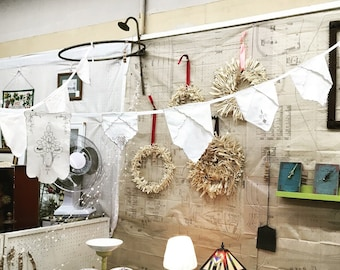 Napkin Garland from antique lacy white and gray cotton linen napkins sewn together as charming upcycled decor for home, wedding. Great GIFT!
