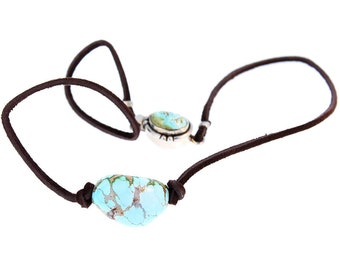 TURQUOISE PENDANT NECKLACE Sterling Leather Nevada Turquoise NewWorldGems