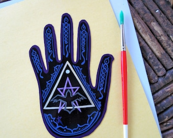 Magnet,  Hand shape, Raven ,Moon, Pentagram, Triangle, pagan, wiccan, Made To Order