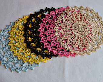 7.5 inches (19 cm)/Crochet doily / Lace / Round / Coasters
