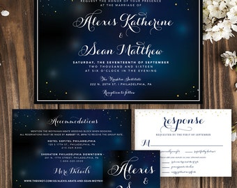 Starry Night Wedding, Starry Night Print, Wedding Invitation, Wedding Invitation Printable, Wedding Invitation Stars, Under the Stars