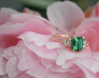 Diamond and Emerald Gemstone Ring, Yellow Gold Emerald Ring