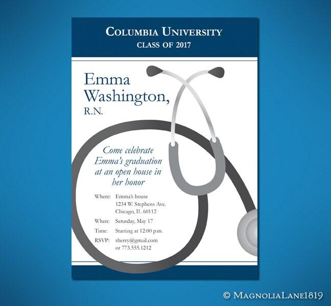 Nurse Or Doctor Graduation Invitation Cards Customized To