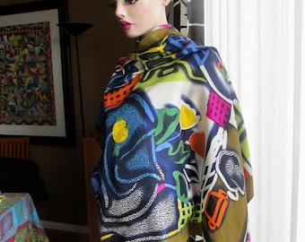Vintage silk scarf by Torrente.Silk scarf with rolled edges.