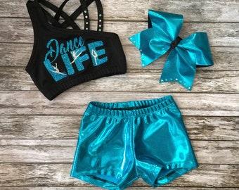Girls Dancewear,Kids Dancewear,Girls Dance Set,Girls Dance Outfit,Dancewear,Dance Outfit,Dance Set,Dance Shorts,Dance Top,Activewear
