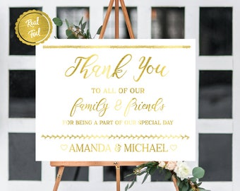 Thank you sign // wedding prints // gold foil // gold wedding // thank you // custom wedding // bride and groom names // wedding date