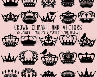 Crown Clipart Clip Art, Crown Silhouette Clipart Clip Art - Commercial and Personal Use