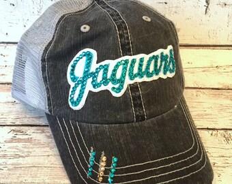 JAGUARS Bling Hat - Distressed Trucker Cap- Jaguars Football - Swarovski Rhinestones