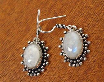Moonstone Earrings, Rainbow Moonstone Gemstone Jewelry, Moonstone Dangle Earrings - SE-GSP361X