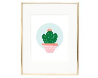 Blue Cactus Print - Cactus Illustration Wall Art