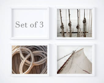 Save 20% - Nautical photography prints - Instant collection SET OF 3 - Sea ship art - Sail boat wall decor - Neutral colors - Sailing gift