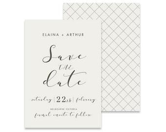 White Save the Date Invitation | Blissa | Printable DIY Wedding Invite | Classic white invitation with simple pattern