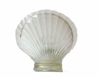 SALE...Glass Scallop Votive Candle Holder