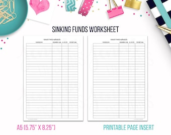 A5: Sinking Funds Worksheet • Budget Binder Printable Page Insert for A5 sized Discbound or Ringbound Agendas, Organizers or Planners