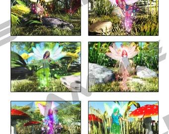 6 Printable Fantasy Fairy Digital Post Cards Instant Download