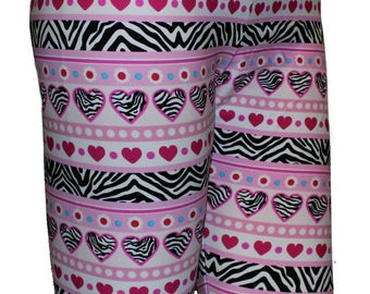 Youth Heart and Zebra Leggings, Valentine's Leggings, Girls Leggings, Printed Leggings, Yoga Pants, Running Pants, Exercise Pants