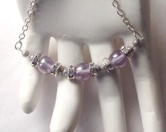 Mauve Necklace. Purple necklace. Chain necklace. Crystal Necklace. Silver Bead Necklace. Wedding style. Wedding necklace. Short necklace.