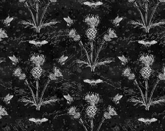 Half Yard Fabric-A Bees Life-Black Thistles