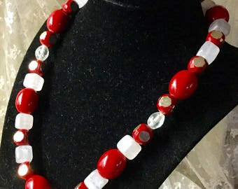 Bright Vibrant Red White Lucite Bead Necklace Single Strand Unsigned 1980's 1990's Choker Length Square Round Oval Shaped Beads
