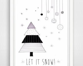 let it snow, printable christmas greeting card