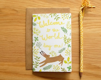Illustrated Welcome to the World Baby Card