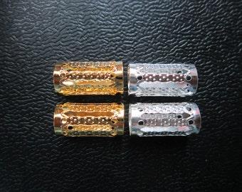 20-100pcs LONG gold and silver dreadlock Beads dread tube hair braid adjustable cuff clip 7.5mm hole