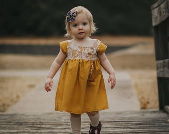 girls dresses, baby dress, Easter dress, toddler dress,spring outfit,family picture,lace dress, formal dress, Mustard dress, Yellow dress