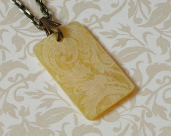 Victorian Scroll Rectangular Shell Pendant Necklace - Cream Mother of Pearl