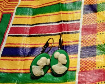 Antique Style Lever Back African American Cameo Earrings
