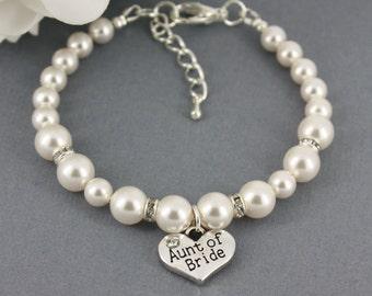 Aunt of Bride Bracelet Swarovski Bracelet Bracelet for Aunt Pearl Wedding Jewelry Swarovski Pearl Bracelet Available in White/Cream