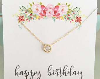 April Birthday Gift, April Birthstone Necklace, Dainty Gold Necklace, Diamond Necklace, Bridesmaid Necklace, Best selling item gold necklace