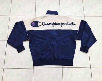 Vintage Champion Products Big Logo Jacket Embroidered Trainer Track casual SportsSmall Size Dark Blue Purple White Color