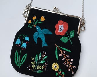 Bluebird In The Backyard Embroidered Velvet Clutch