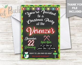 Christmas Party Invite Invitation 5x7 Digital PDF Celebration Candy Canes Christmas Tree Snowman North Pole Sign #46.0