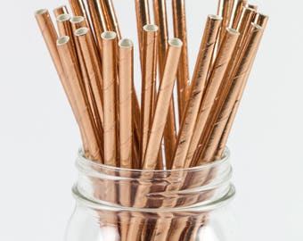 Rose Gold Foil Straws - 8 Inches - Perfect for Parties, Events, Birthdays, & More - Fast Shipping! Frozen Dessert Supplies