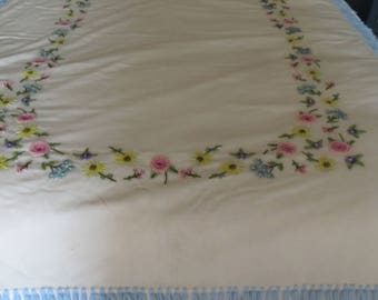 Ivory Wool Throw Blanket colorful crewel embroidered flowers. Fringe. Cottage Charm. MCM.