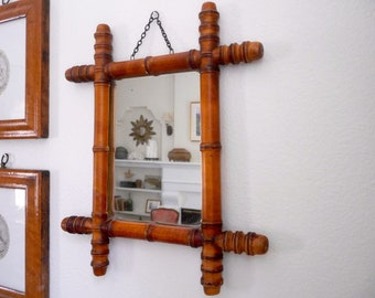 Vintage Mirror, French Faux Bamboo Hanging Mirror, Vintage Wood Mirror, French Country, Antique Wood Mirror