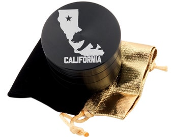 "California Laser Etched Design 2.5"" Large Size Herb Grinder Item # ETCH-G013017-66"