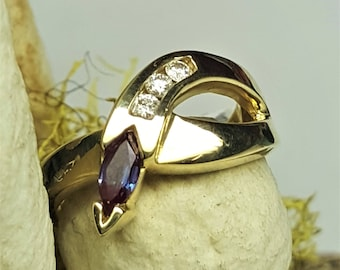 14 Karat Yellow Gold Lab Created Alexandrite & Diamond Ring