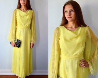 Vintage Yellow Chiffon Evening Gown, 1970s Evening Gown, Bridesmaid Dress, Formal, Wedding, Evening Gown, Pleated Gown
