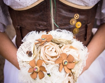 Wedding Steampunk bouquet - ivory fabric & paper flowers