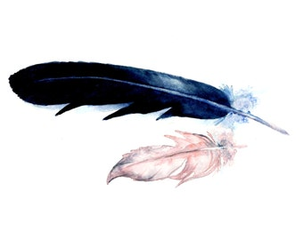 Watercolor Feathers Print 5 x 7