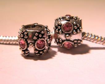 2 European bead, metal and pink rhinestones - drum - bead European-11 mm x 9 mm D53