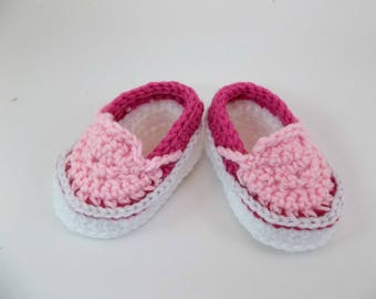 Baby Booties  Crochet Sneakers Pink Slip-on Vans Style Baby Shoes Slippers