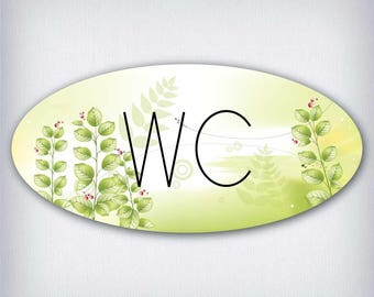 Door decal style oval wc 031
