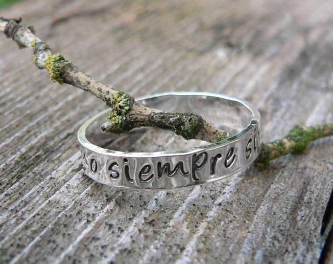 Custom Hand Stamped Ring - Solid Hand-Forged Sterling Silver - Customizable - Your Message - Inside OR Outside - Choose Font - Lightweight