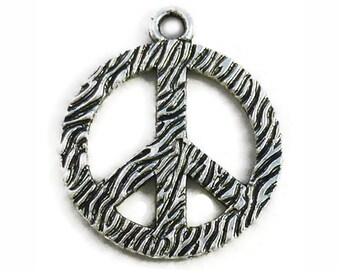 5 Silver Peace Sign Charm Pendant 34x29mm by TIJC SP0591