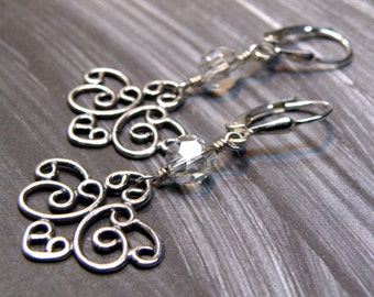 Antiqued Sterling Silver Earrings, Long Dangle Chandelier, Curly Heart Geometric Metal, Handmade Jewelry Ready to Ship
