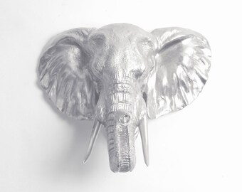 The Noori - Silver Resin Elephant Head Wall Mount by White Faux Taxidermy - Resin Silver Faux Taxidermy - Large Animal Head Wall Hanging